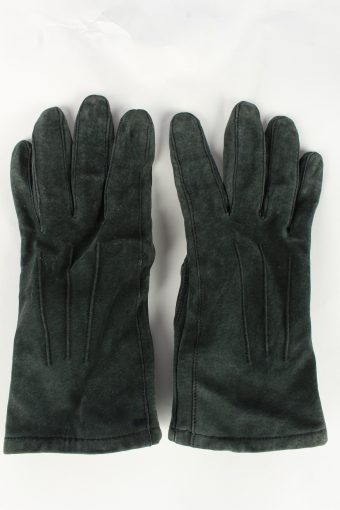 Genuine Suede Leather Gloves Womens L Green