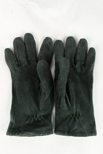 Genuine Suede Leather Gloves Womens L Green -G361-151288