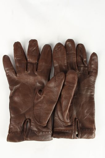 Leather Gloves Lined Vintage Womens 7.5 Brown -G363-151296