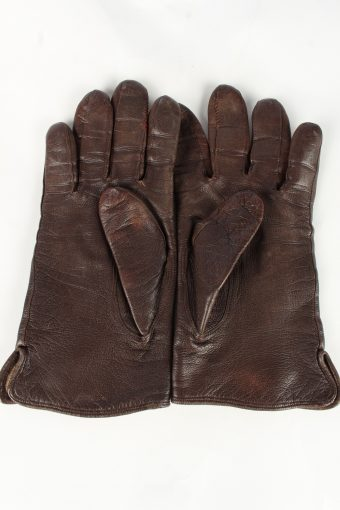 Leather Gloves Lined Vintage Womens Brown -G366-151307