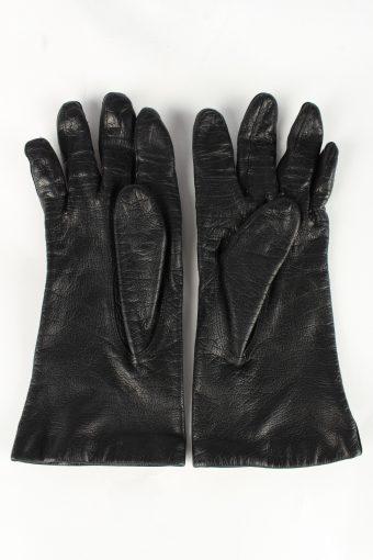 Leather Gloves Lined Vintage Womens Black -G371-151327