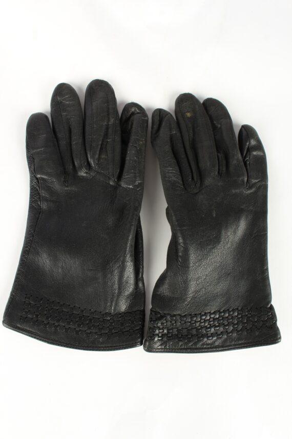 Leather Gloves Lined Vintage Womens Black -G373-0
