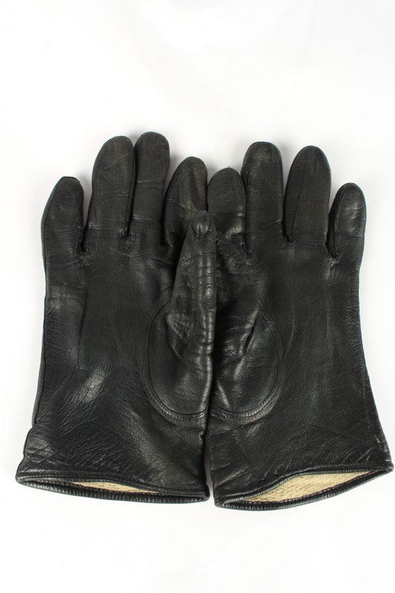 Leather Gloves Lined Vintage Womens Black -G373-151335