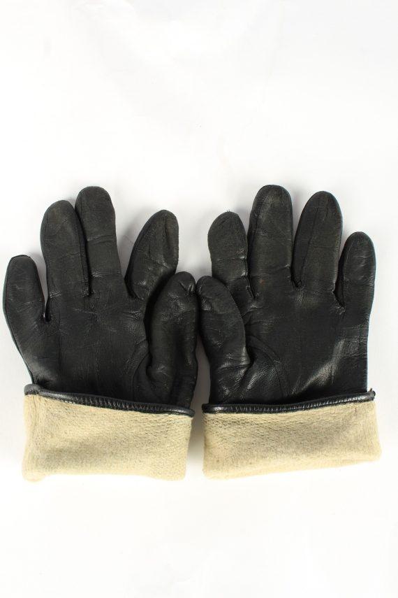 Leather Gloves Lined Vintage Womens Black -G373-151336
