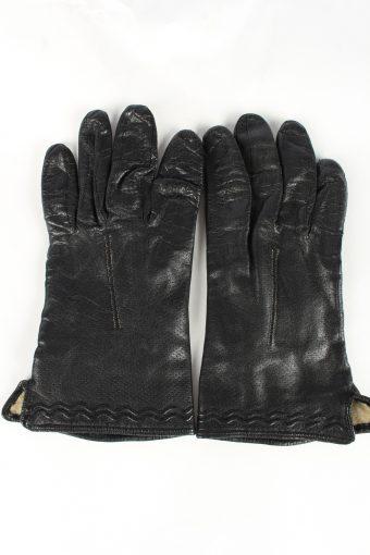 Leather Gloves Lined Vintage Womens 7 Black