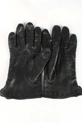 Leather Gloves Lined Vintage Womens 7 Black -G375-151343