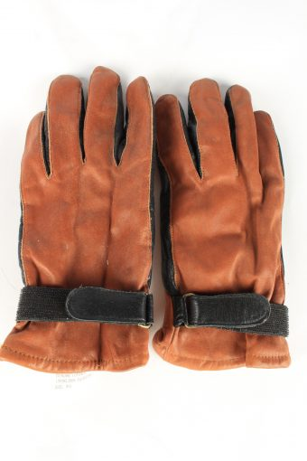 Genuine Leather Gloves Lined Vintage Womens 8.5 Brown