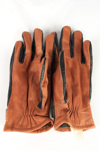 Genuine Leather Gloves Lined Vintage Womens 8.5 Brown -G380-151363