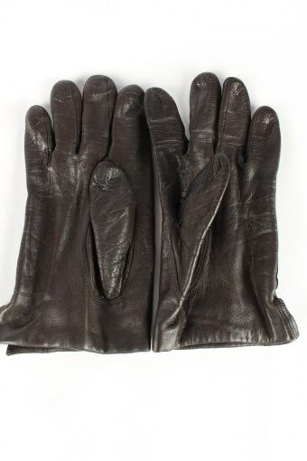 Leather Gloves Lined Vintage Womens Brown -G381-151367