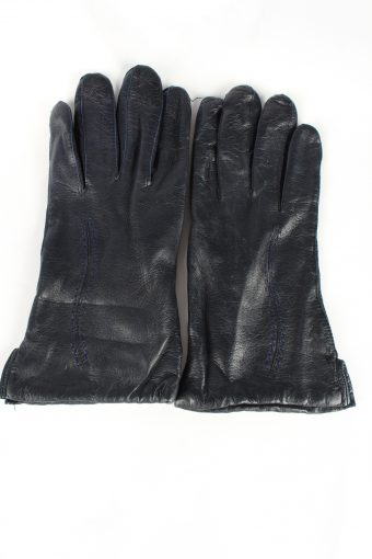 Leather Gloves Lined Vintage Womens 7.5 Navy