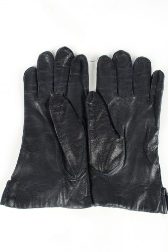 Leather Gloves Lined Vintage Womens 7.5 Navy -G382-151371