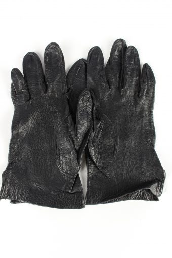 Leather Gloves Lined Vintage Womens Black -G328-151035