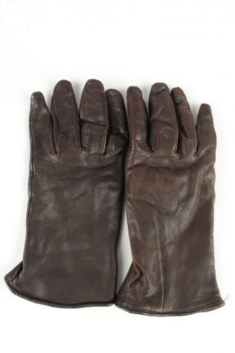 Leather Gloves Lined Vintage Womens Brown