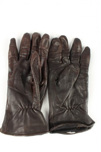 Leather Gloves Lined Vintage Womens Brown -G339-151079