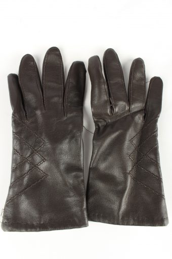 Faux Leather Gloves Lined Vintage Womens 7.5 Brown