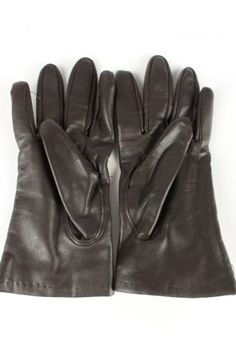Faux Leather Gloves Lined Vintage Womens 7.5 Brown -G340-151083