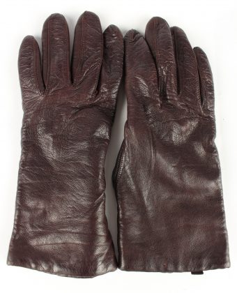 Leather Gloves Lined Vintage Womens Brown -G342-0