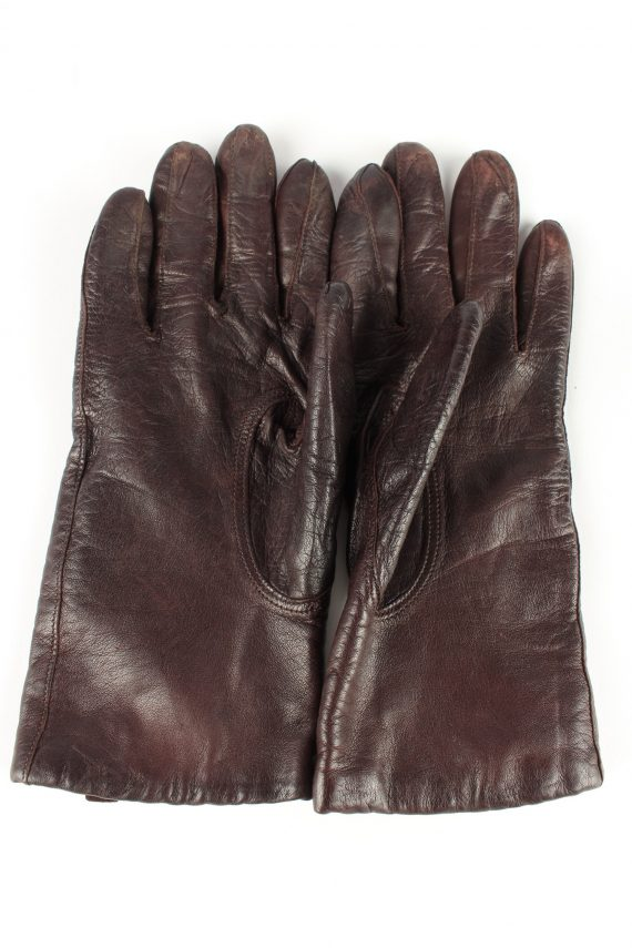 Leather Gloves Lined Vintage Womens Brown -G342-151091