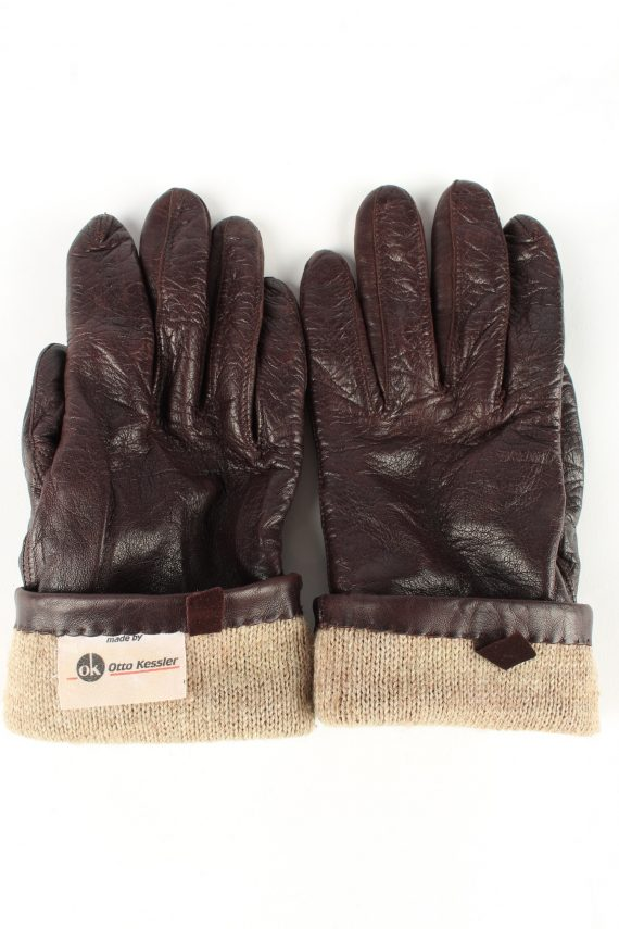 Leather Gloves Lined Vintage Womens Brown -G342-151092