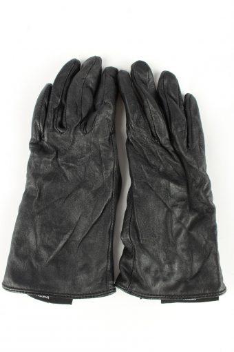 Genuine Leather Gloves Lined Vintage Womens L Black