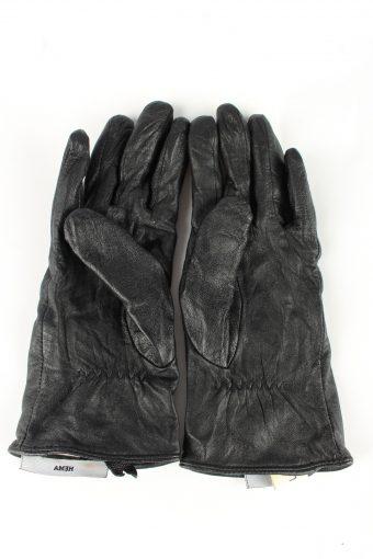 Genuine Leather Gloves Lined Vintage Womens L Black -G346-151107