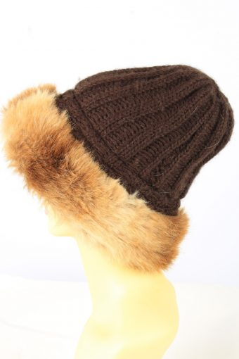 Chunky Knit Beanie Hat Vintage Womens Brown -HAT1885-152054