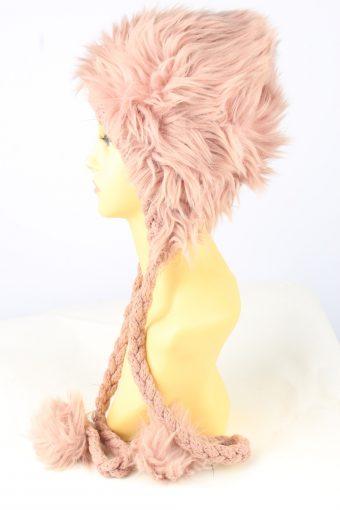 Faux Fur Pom Pom Hat Vintage Womens Pink -HAT1886-152058