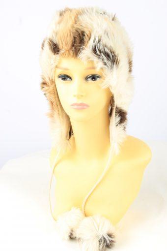 Faux Fur Pom Pom Hat Vintage Womens