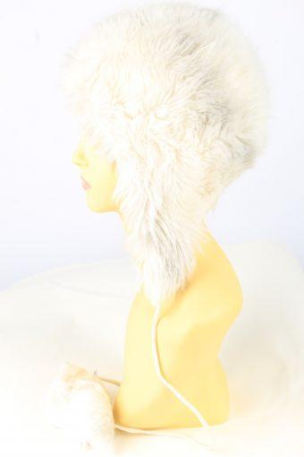 Faux Fur Pom Pom Hat Vintage Womens White -HAT1888-152066