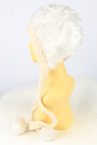 Faux Fur Pom Pom Hat Vintage Womens White -HAT1889-152070