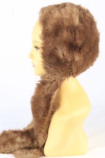 Faux Fur Hat With Scarf Vintage 1990s Womens Brown -HAT1921-152201