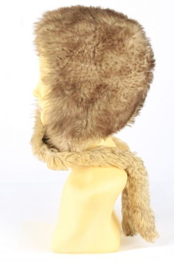 Faux Fur Hat With Scarf Vintage 1990s Womens Brown -HAT1922-152205