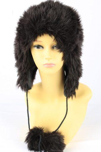 Faux Fur Pom Pom Hat With Long Chin Ties Womens