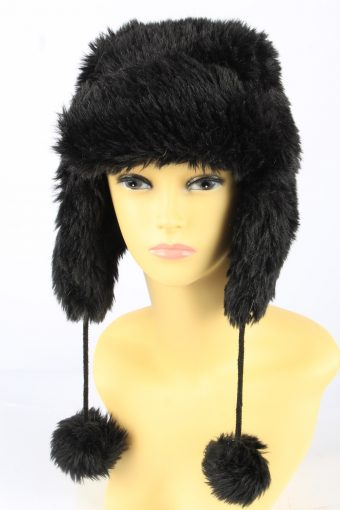Faux Fur Pom Pom Hat With Long Chin Ties Vintage Girls Y