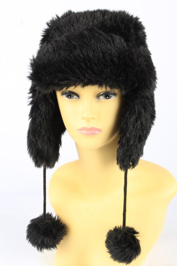 Faux Fur Pom Pom Hat With Long Chin Ties Vintage Girls 8-11Y Black -HAT1924-0
