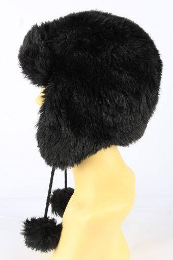 Faux Fur Pom Pom Hat With Long Chin Ties Vintage Girls 8-11Y Black -HAT1924-152213