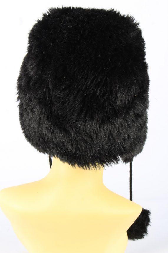 Faux Fur Pom Pom Hat With Long Chin Ties Vintage Girls 8-11Y Black -HAT1924-152214