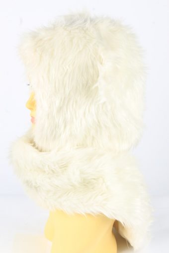 Dog Ear Hat With Scarf Vintage 1990s Womens White -HAT1925-152217