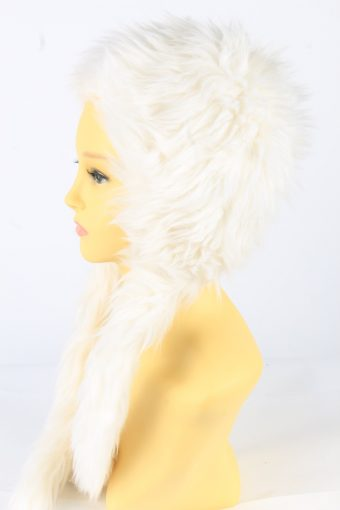 Faux Fur Hat With Scarf Vintage 1990s Womens White -HAT1926-152221