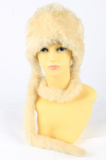 Faux Fur Hat With Scarf Vintage Womens