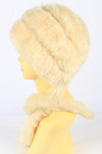 Faux Fur Hat With Scarf Vintage 1990s Womens Beige -HAT1927-152225