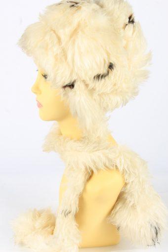 Faux Fur Hat With Scarf Vintage 1990s Womens Beige -HAT1928-152229