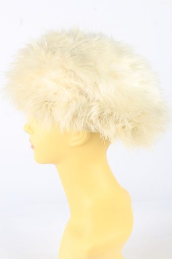 Feather Lined Hat Vintage 1990s Womens Beige -HAT1929-152233