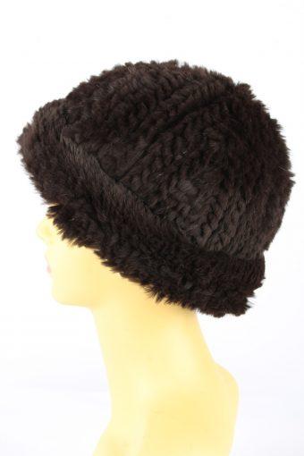 Furry Beanine Hat Vintage 1990s Womens Brown -HAT1939-152273