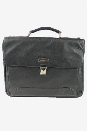 C. Combertri Leather Briefcase Bag Unisex Vintage 1990s Black