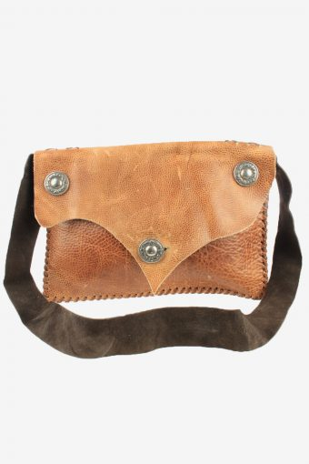 Leather Shoulder Bag Unisex Vintage 1990s Brown