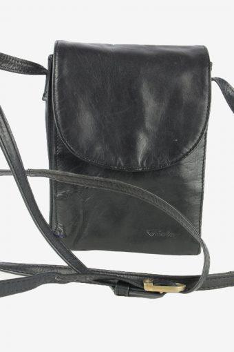 Leather Mini Shoulder Bag Womens Vintage Funbag 1990s Black
