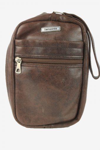 Leather Mini Hand Bag Unisex Vintage Samsonite 1990s Brown