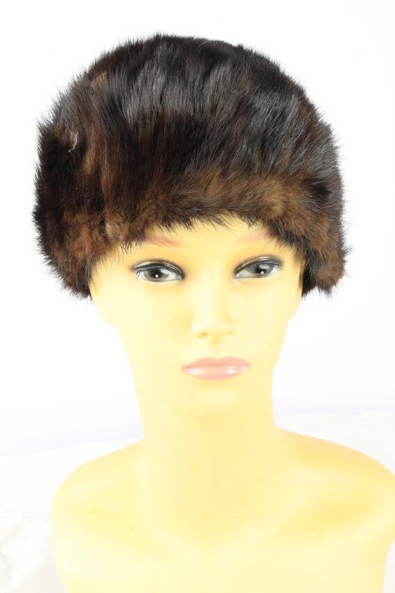 Russian Fur Cossack Hat Vintage Womens 1980s Brown -HAT1856-0