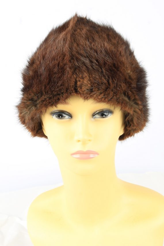 Russian Fur Cossack Hat Vintage Womens 1980s Brown -HAT1858-0